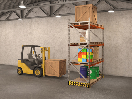 storage facility: warehouse with loader, 3d illustration