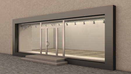 boutique display: store exterior day, 3d illustration
