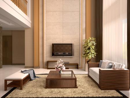 living room design: Modern design living room warm colors. 3d illustration.