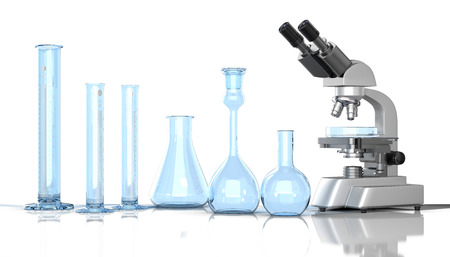 mesure: 3D render illustration. Laboratory blue glassware with laboratory microscope on white background