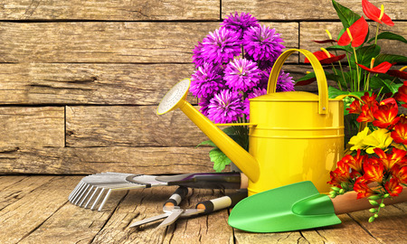 Concept of gardening. Gardening tools (Watering can, shovel, rake, flowers and scissors) on the wooden table. 3d illustration