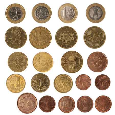 five cents: Collection set of euro coins isolated on white background