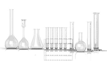 mesure: 3D render illustration. empty laboratory  glassware on white background Stock Photo