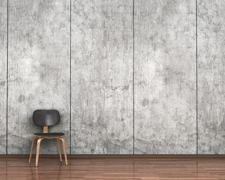 wooden floor: chair on the background of a concrete wall. 3d illustration