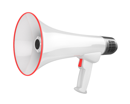 amplify: White bullhorn public address megaphone isolated on white background. 3d illustration