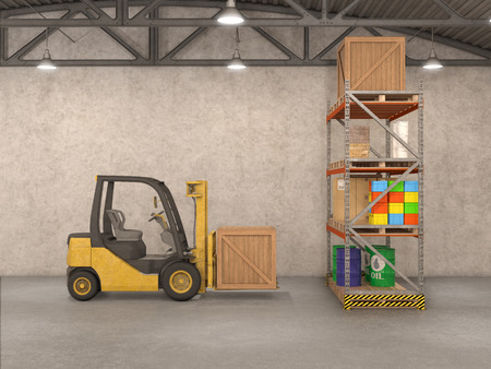 warehousing: warehouse with loader, 3d illustration