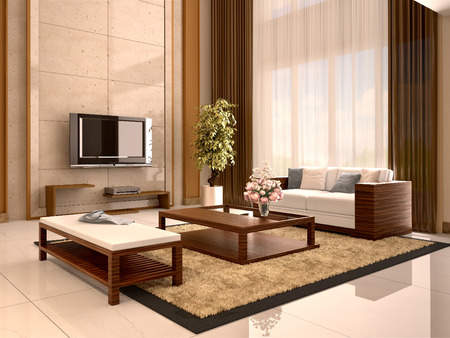 wall decor: Modern design living room warm colors. 3d illustration.