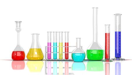 mesure: 3D render illustration. Laboratory  glassware whith color liquid on white background