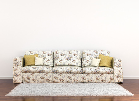 to furnish: sofa in floral fabric on a background of white walls and carpet on the floor. 3D illustration