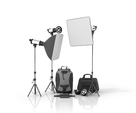 photography backdrop: Photo studio equipment on a white bacground.3D illustration