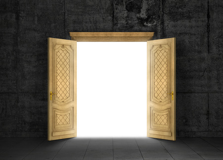 portal: Concept of different dimension. White mysterious portal to another space through a wooden door with a gloomy room outside. Concept of path.