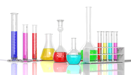 clinical research: 3D render illustration. Laboratory  glassware whith color liquid on white background