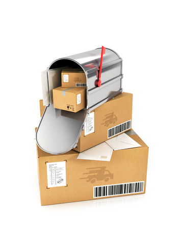 await: The stack of cardboard boxes. Mail box with letters inside, lying on cardboard boxes. 3D illustration