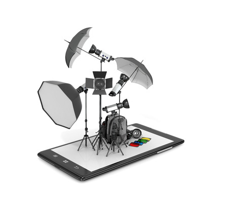 displays: Concept photo studio, photographic equipment placed on smartphone displays. 3D illustration