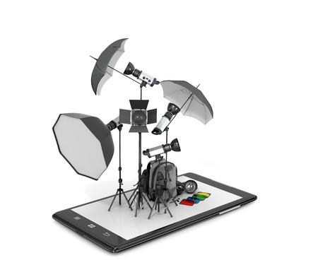 estudio fotográfico concepto, equipo fotográfico colocado en pantallas de teléfonos inteligentes. ilustración 3D