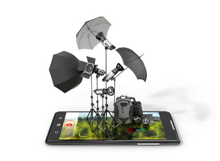 strobe light: Concept photo studio, photographic equipment placed on smartphone displays. 3D illustration
