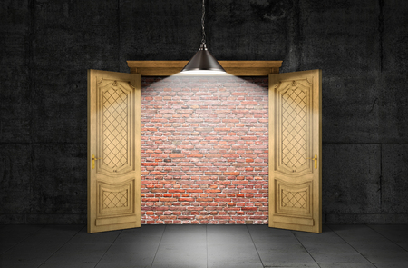 hope symbol of light: Concept of obstacle. Opened door with a brick wall inside with a gloomy room outside illuminated lantern. Concept of wrong way. 3D Illustration. Stock Photo