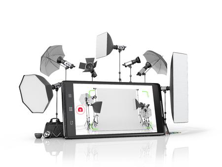 Concept fotostudio, fotografische apparatuur geplaatst in de buurt van de smartphone. 3D illustratie Stockfoto