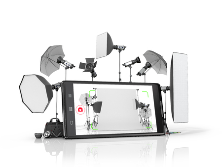 estudio fotográfico concepto, equipo fotográfico colocado cerca del teléfono inteligente. ilustración 3D Foto de archivo