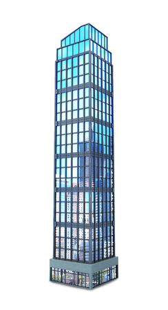 panes: modern skyscraper of glass, isolated on white background. 3d illustration