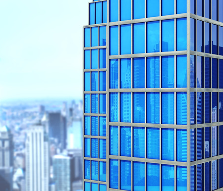 reverberation: Modern skyscraper made of glass, a top view of the city, reflection of the city and sky in skyscrapers  . 3d illustration Stock Photo