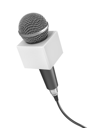 record breaking: Interview concept. Microphone for interview with blank space on a white background. 3d illustration Stock Photo