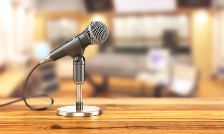 Microphone on the stand on a studio background. 3d illustration