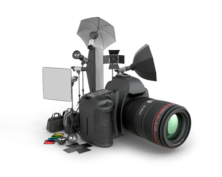 photography backdrop: Photo studio concept. Camera and photo equipment on a white background. 3D illustration