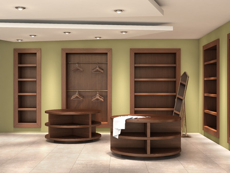 boutique display: store_inside_empty, 3d illustration