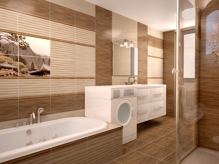 showcase interior: Modern bathroom interior in warm tones. 3d illustration Stock Photo
