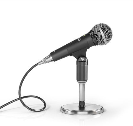 commentary: Microphone on the stand on a white background. 3d illustration Stock Photo