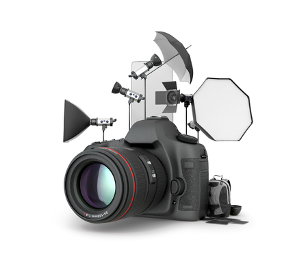 Concept studio. Photography Studio Equipment located near the camera on a white background. 3D illustration Stock Photo