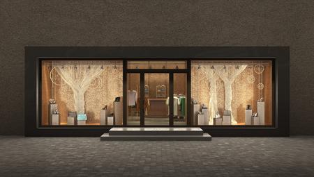forepart: store  night exterior, 3d illustration