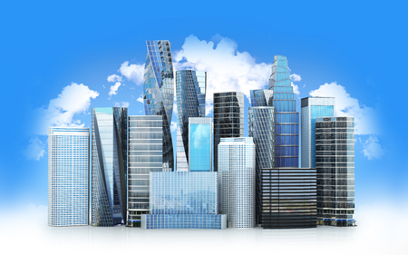 City scape, skyscrapers .The city is isolated on a white background. 3D illustration