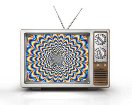 misleading: Television as influential mass media - hypnotic spiral on the screen. Metaphor of mind control, propaganda, brainwashing and manipulation caused by watching TV and mainstream broadcasting. Retro TV. 3d illustration