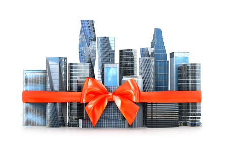 concept of business investment. Skyscrapers and houses tied with a red bow. 3D illustration