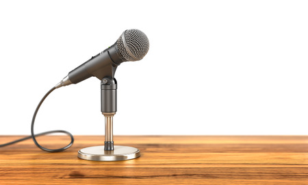 accreditation: Microphone on the stand on a wood background. 3d illustration