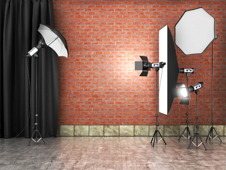 photography backdrop: Photography Studio interer.Fotostudii equipment.3D illustration