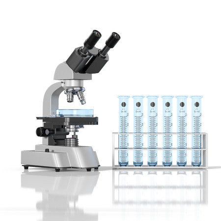 3D render illustration. Laboratory blue glassware with laboratory microscope on white background