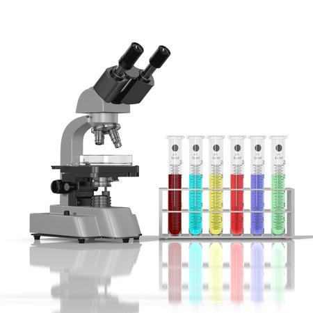 mesure: 3D render illustration. Laboratory  glassware whith color liquid and laboratory microscope on white background