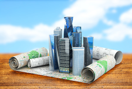 engineering design: concept of building cities for business publications. the city is located in the drawings. 3d illustration Stock Photo