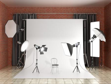 La instalación de iluminación en el estudio fotográfico. Equipo de estudio a. Ilustración 3D.