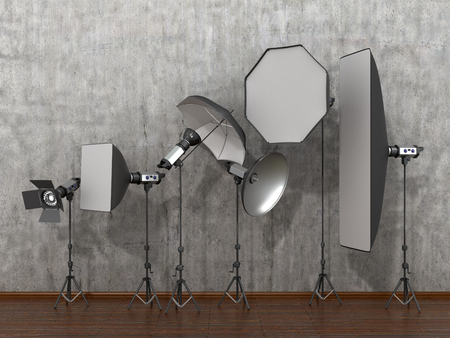 photography backdrop: Installation of lighting in the photo studio. Photo studio equipment to. 3D Illustration. Stock Photo