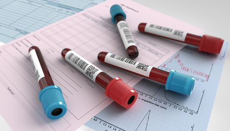 3D render illustration blood test tube and request form for analysis