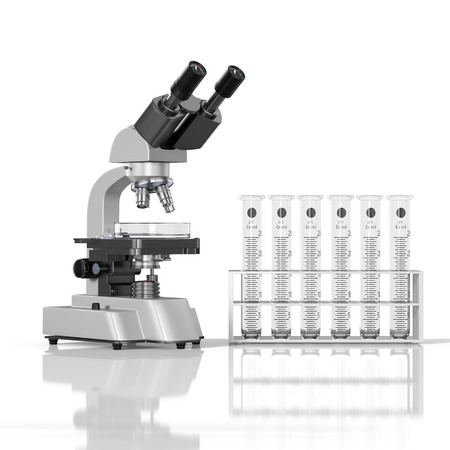 graduated: 3D render illustration. empty laboratory  glassware whith laboratory microscope on white background Stock Photo