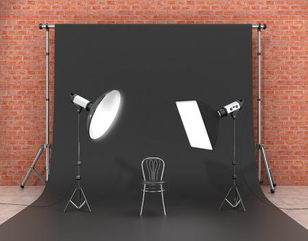 Installatie van verlichting in de fotostudio. Foto studio-apparatuur aan. 3D Illustratie.