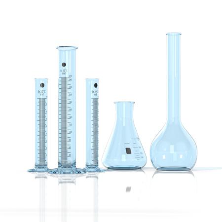 amount: 3D render illustration. Laboratory blue glassware on white background Stock Photo