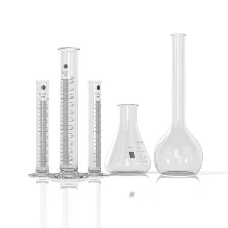 render: 3D render illustration. empty laboratory  glassware on white background Stock Photo