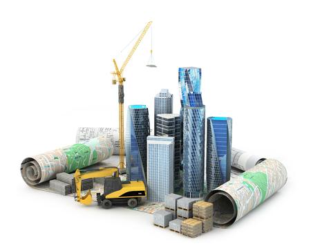 Rascacielos, materiales de construcción, el grifo de gran altura y una escalera mecánica se encuentra en dibujos y proyectos. ilustración 3D Foto de archivo - 64618151