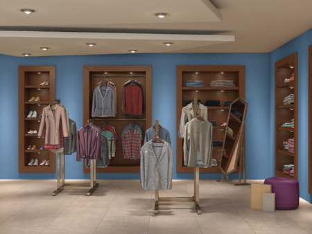 boutique display: store inside full, 3d illustration